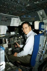 Ed flying the space-shuttle simulator